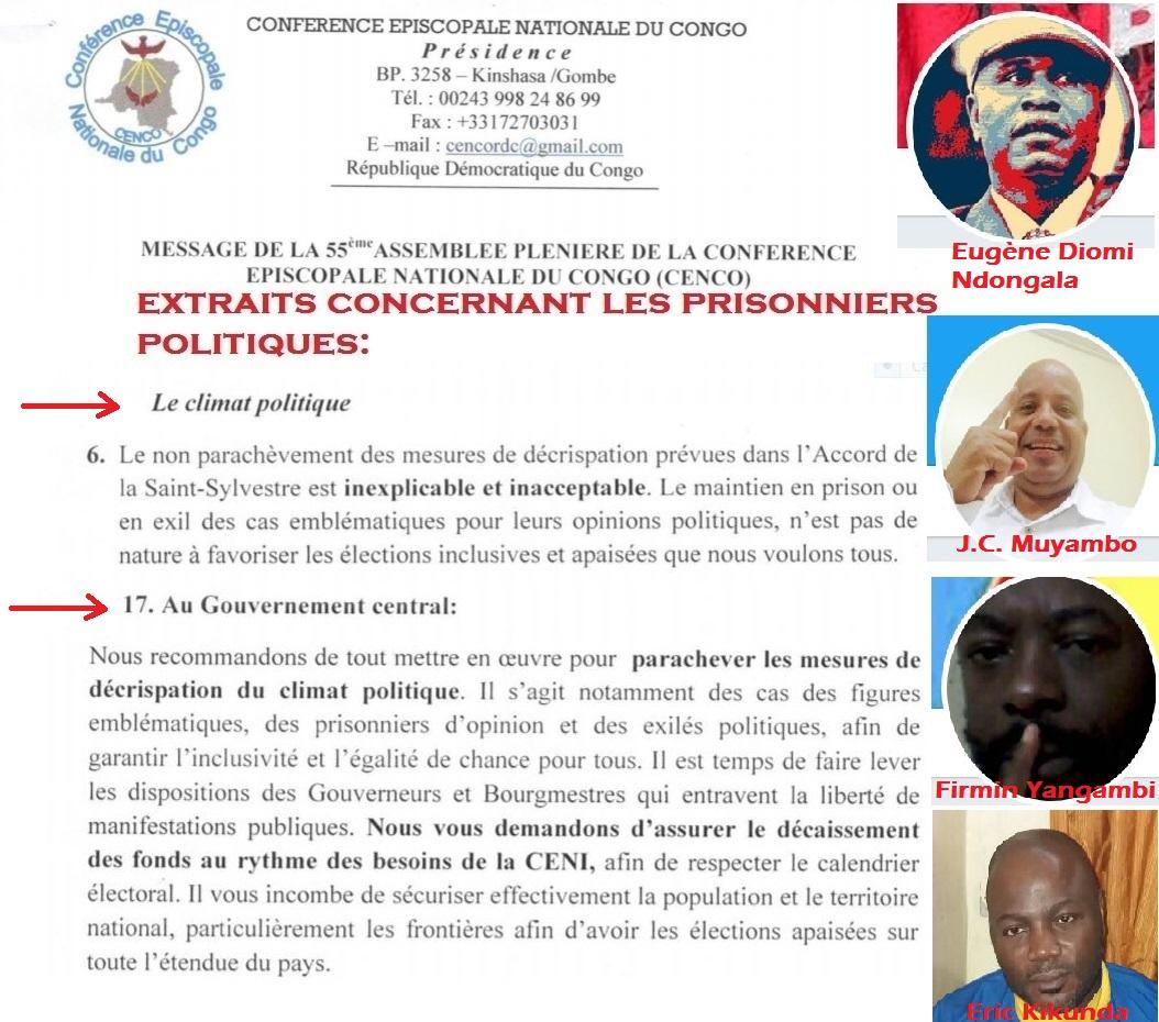 message cenco sur les prisonniers politiques