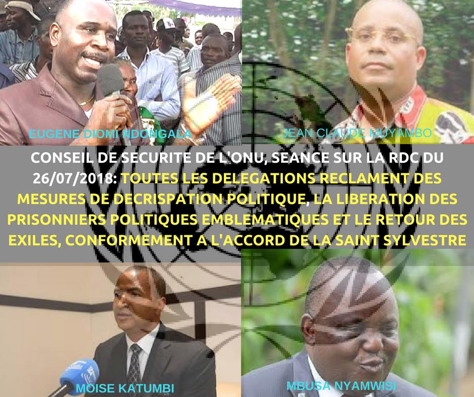 CONSEIL DE SECURITE DE L'ONU, SEANCE SUR LA RDC DU 26072018_ TOUTES LES DELEGATIONS RECLAMENT DES MESURES DE DECRISPATION POLITIQUE, LA LIBERATION DES PRISONNIERS POLITIQUES EMBLEM