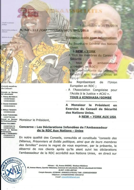 lettre avocat diomi et muyambo au sg onu