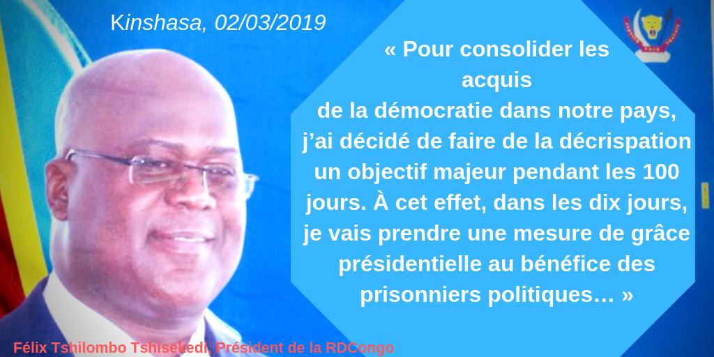 « Pour consolider les acquis de la démocratie dans notre pays, j'ai décidé de faire de la décrispation un objectif majeur pendant les 100 jours. À cet effet, dans les dix jours, je vais prendre une mesure de grâ